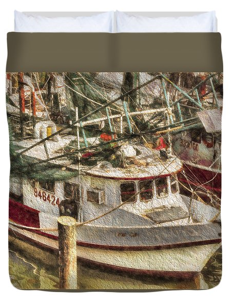 Shrimp Boat Lucky Lady Duvet Cover by Cathy Jourdan