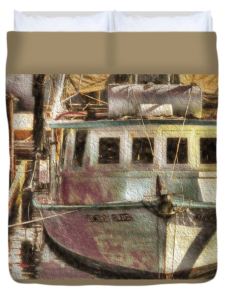 Shrimp Boat Midnight Blues Duvet Cover by Cathy Jourdan