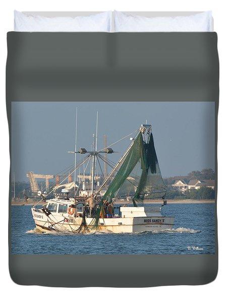Shrimp Boat Near Beaufort Duvet Cover