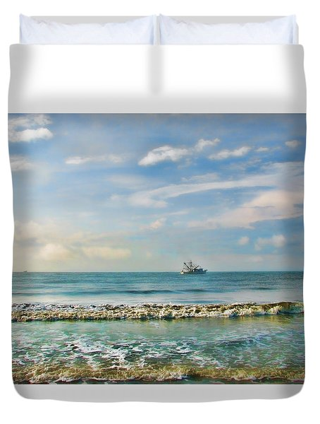 Duvet Cover featuring the photograph Shrimp Boat Off Kiawah by Amy Tyler
