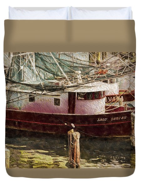 Shrimp Boat Sariah Duvet Cover by Cathy Jourdan