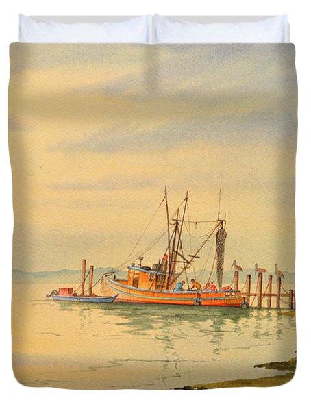 Shrimp Boat Sunset Duvet Cover by Bill Holkham