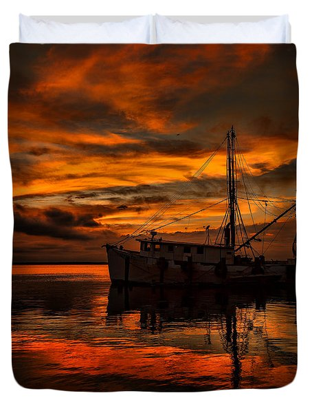 Shrimp Boat Sunset Duvet Cover