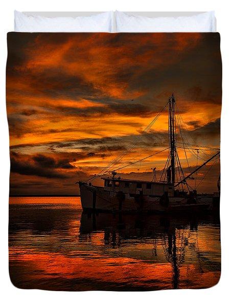 Shrimp Boat Sunset Duvet Cover