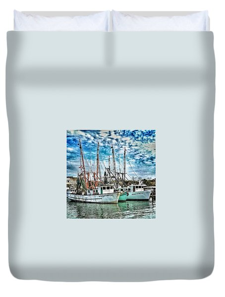 Duvet Cover featuring the photograph Shrimp Boats by Donald Paczynski