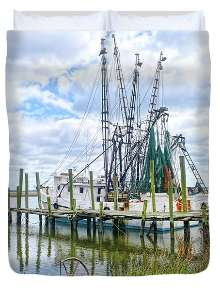Shrimp Boats Of St. Helena Island Duvet Cover