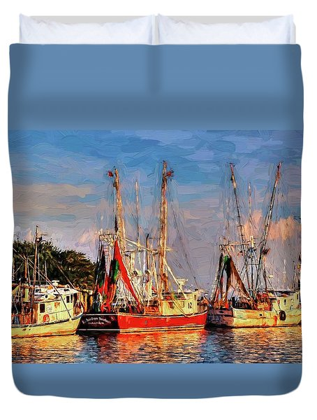 Shrimp Boats Shem Creek In Mt. Pleasant  South Carolina Sunset Duvet Cover