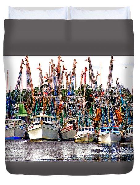 Shrimp Fleet Duvet Cover