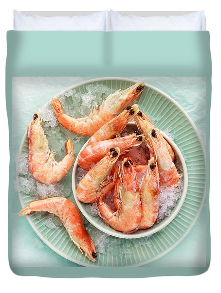 Shrimp On A Plate Duvet Cover by Anfisa Kameneva