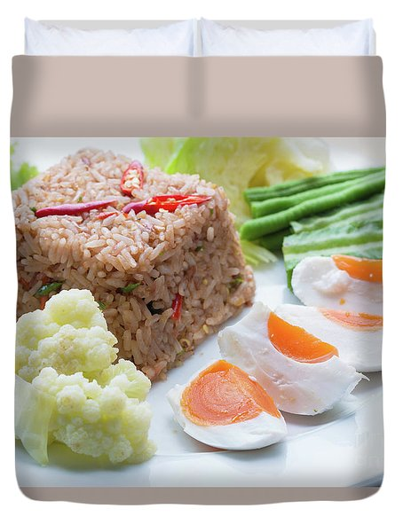 Duvet Cover featuring the photograph Shrimp Paste Fried Rice by Atiketta Sangasaeng