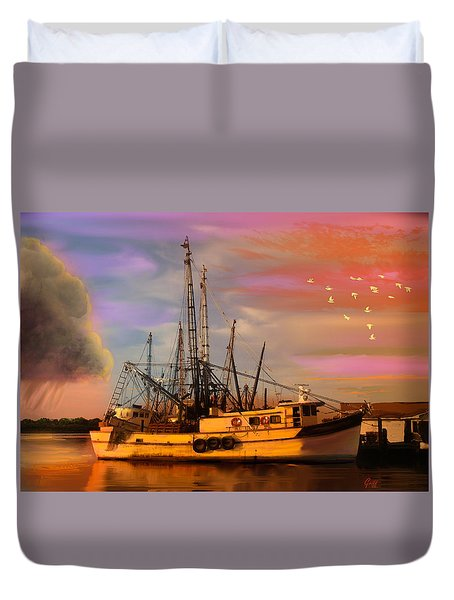 Shrimpers At Dock Duvet Cover by J Griff Griffin