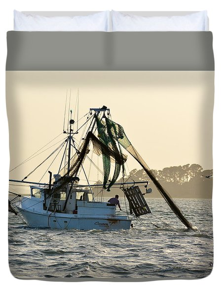 Shrimping At Sunset Duvet Cover