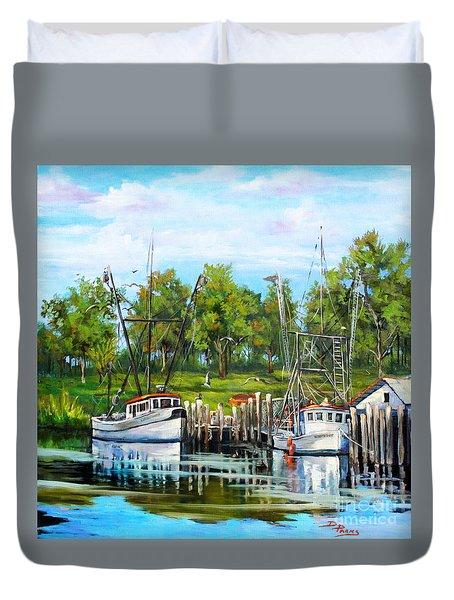 Shrimping Boats Duvet Cover