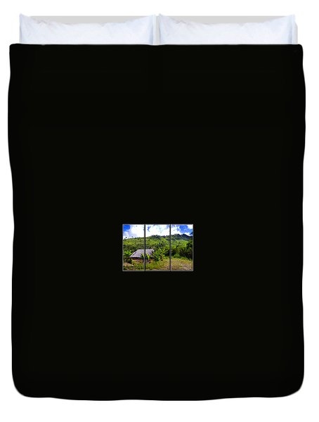 Duvet Cover featuring the photograph Shuar Hut In The Amazon by Al Bourassa
