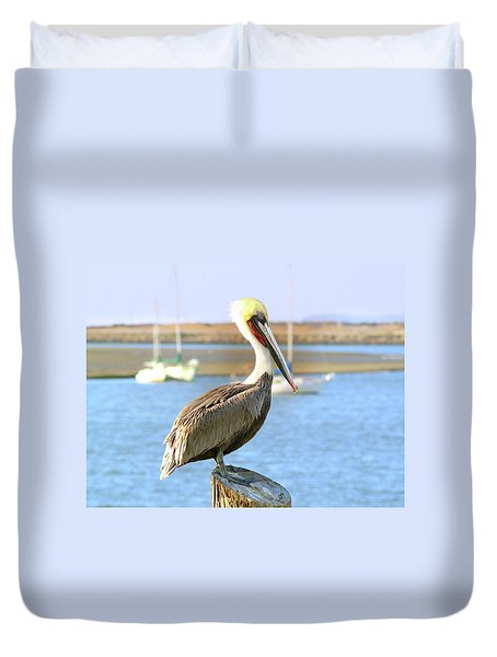 Shy Brown Pelican Duvet Cover