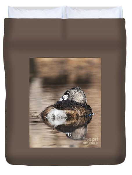 Duvet Cover featuring the photograph Shy Grebe by Ruth Jolly