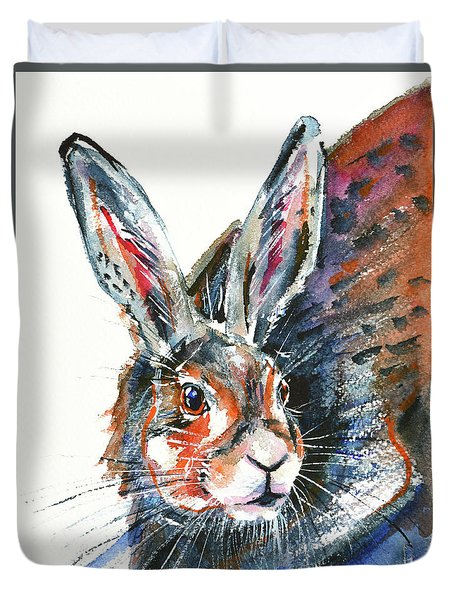 Duvet Cover featuring the painting Shy Hare by Zaira Dzhaubaeva