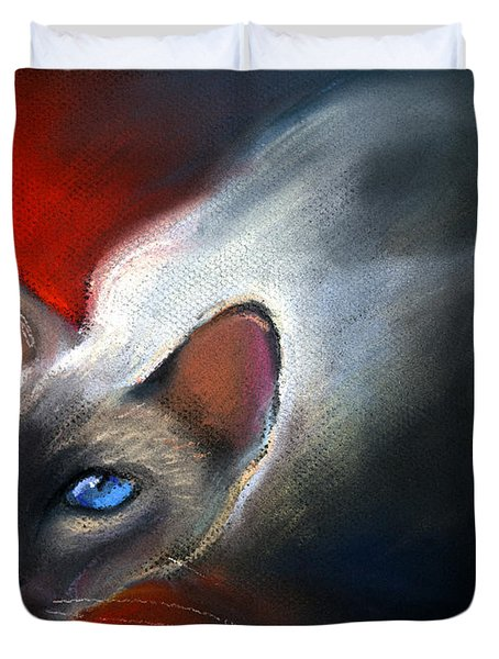 Siamese Cat 7 Painting Duvet Cover by Svetlana Novikova