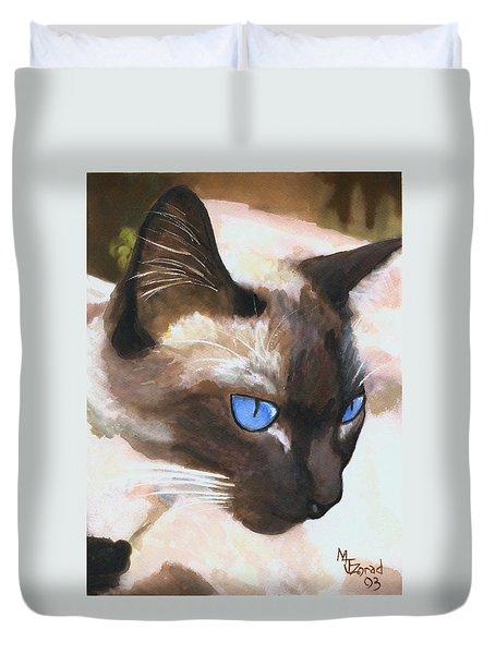 Siamese Cat Duvet Cover by Mary Jo Zorad