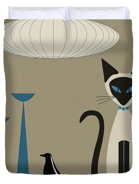 Siamese Cat With Eames House Bird Duvet Cover