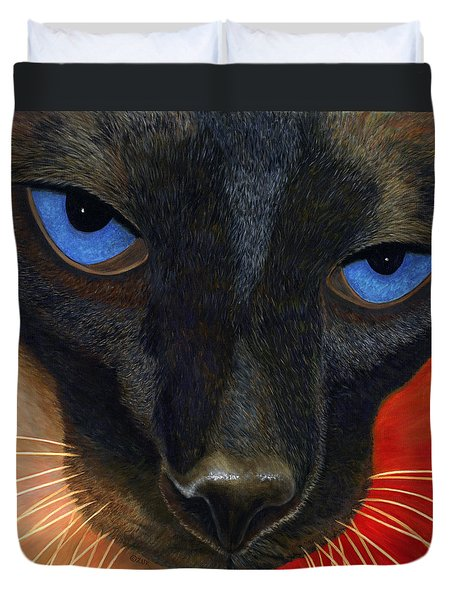 Duvet Cover featuring the painting Siamese by Karen Zuk Rosenblatt
