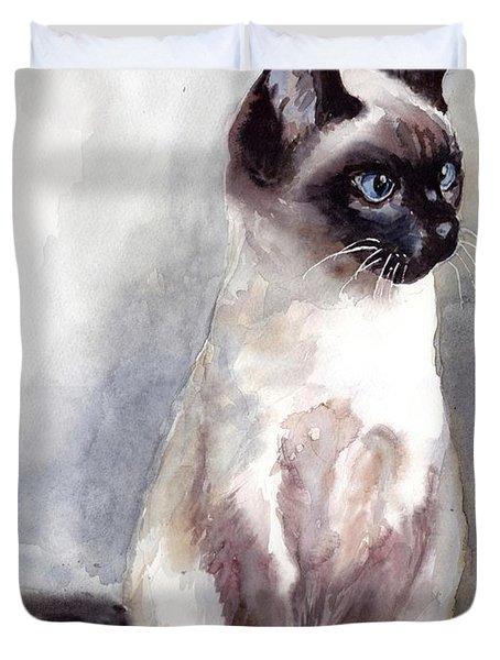 Siamese Kitten Portrait Duvet Cover