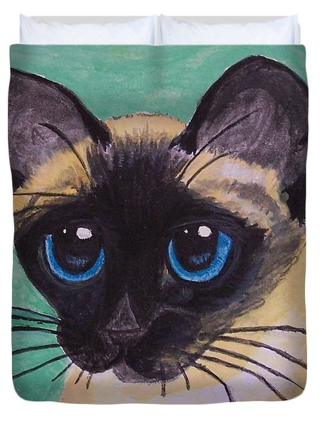 Duvet Cover featuring the painting Siamese by Leslie Allen
