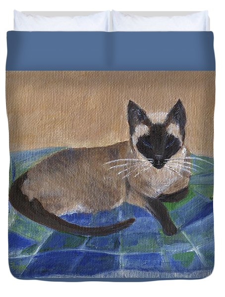 Duvet Cover featuring the painting Siamese Nap by Jamie Frier