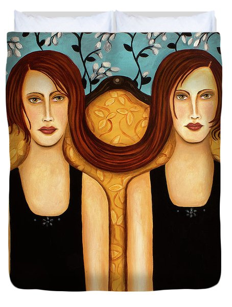 Siamese Twins Duvet Cover by Leah Saulnier The Painting Maniac