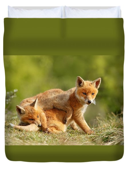 Sibbling Love - Playing Fox Cubs Duvet Cover by Roeselien Raimond