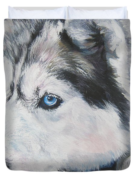Siberian Husky Up Close Duvet Cover by Lee Ann Shepard