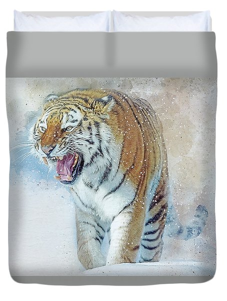 Siberian Tiger In Snow Duvet Cover