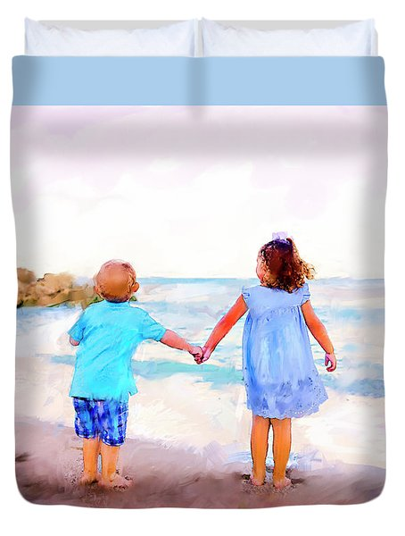 Sibling At Sunset Duvet Cover