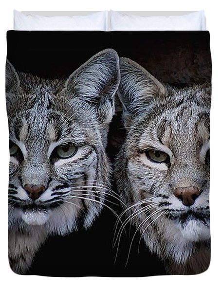 Duvet Cover featuring the photograph Side By Side by Elaine Malott