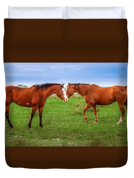 Duvet Cover featuring the photograph Side By Side by Melinda Ledsome