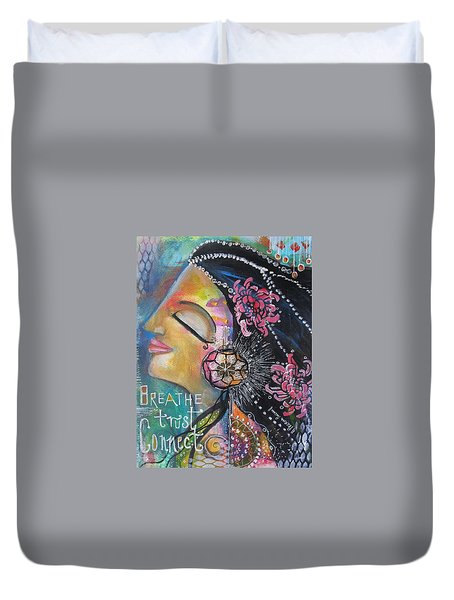 Duvet Cover featuring the painting Side Face With Words by Prerna Poojara