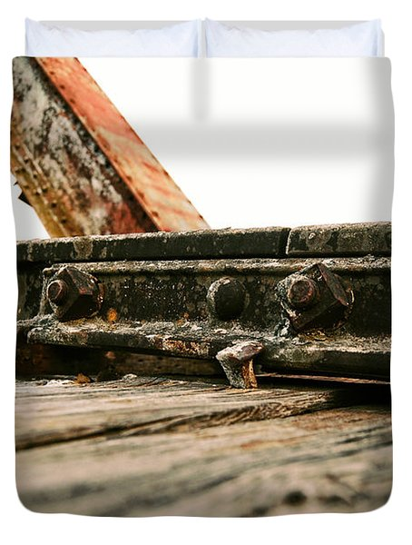 Side Of Rail #photography #trains Duvet Cover