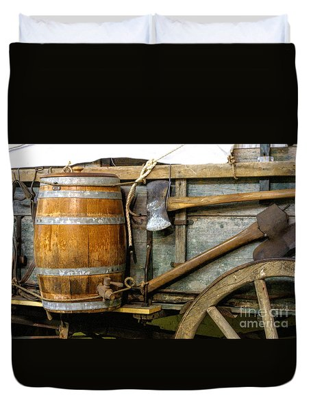 Side View Of A Covered Wagon Duvet Cover