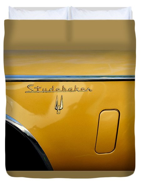 Duvet Cover featuring the photograph Side View Of An Old Studabaker Automobile by Gary Slawsky