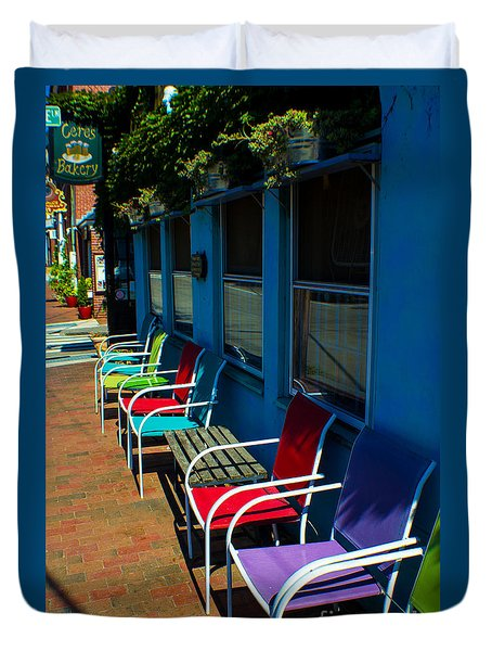 Sidewalk Cafe Duvet Cover