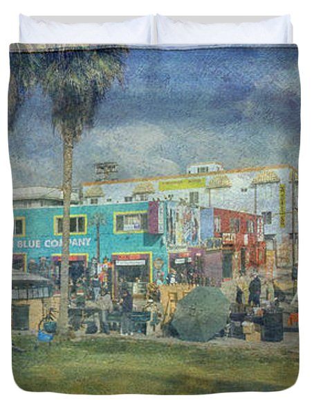 Duvet Cover featuring the photograph Sidewalk Cafe Venice Ca Panorama  by David Zanzinger