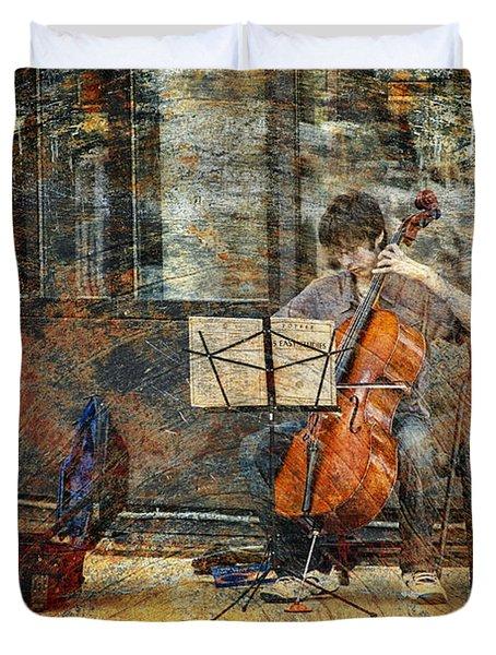 Sidewalk Cellist Duvet Cover