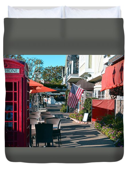 Sidewalk Patio Duvet Cover by Bill Dutting