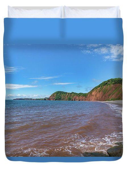 Duvet Cover featuring the photograph Sidmouth Jurassic Coast by Scott Carruthers