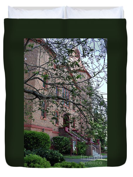 Duvet Cover featuring the photograph Sidney Park Cme Church by Skip Willits
