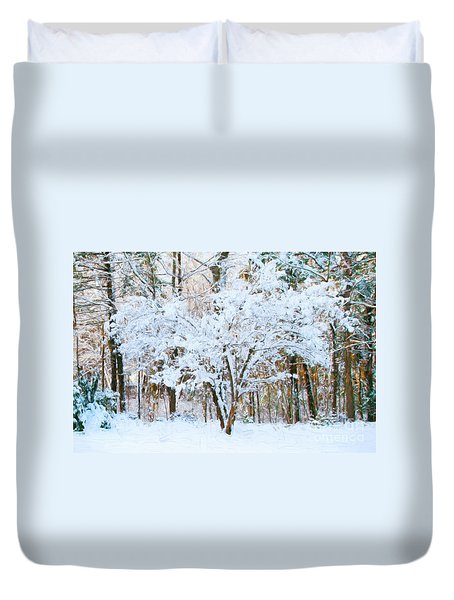 Siebold Viburnum In Snow Duvet Cover