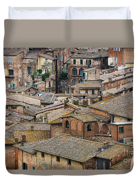 Siena Colored Roofs And Walls In Aerial View Duvet Cover