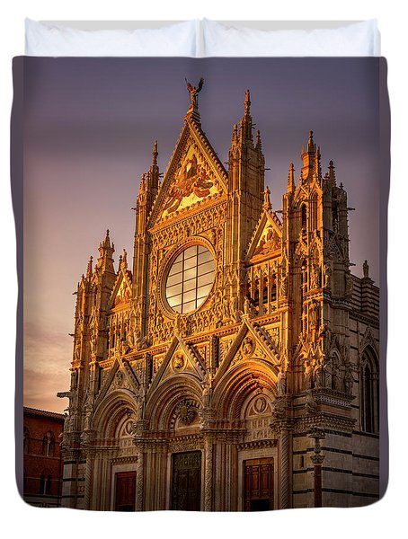 Duvet Cover featuring the photograph Siena Italy Cathedral Sunset by Joan Carroll