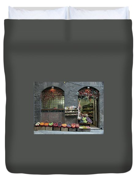 Duvet Cover featuring the photograph Siena Italy Fruit Shop by Mark Czerniec