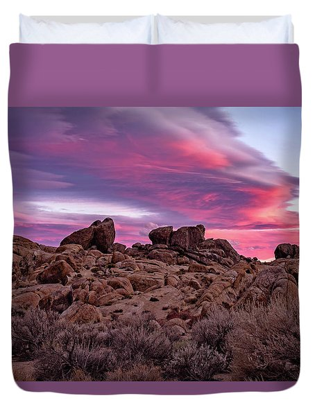 Sierra Clouds At Sunset Duvet Cover